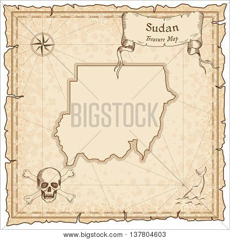Sudan Old Pirate Map. Sepia Engraved Template Of Treasure Map. Stylized Pirate Map On Vintage Paper.