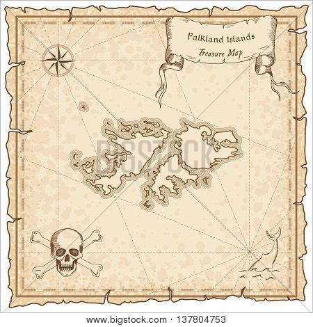Falkland Islands (malvinas) Old Pirate Map. Sepia Engraved Template Of Treasure Map. Stylized Pirate