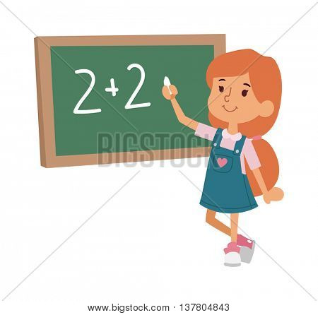 School kid primary education character vector.