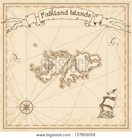 Falkland Islands (malvinas) Old Treasure Map. Sepia Engraved Template Of Pirate Map. Stylized Pirate