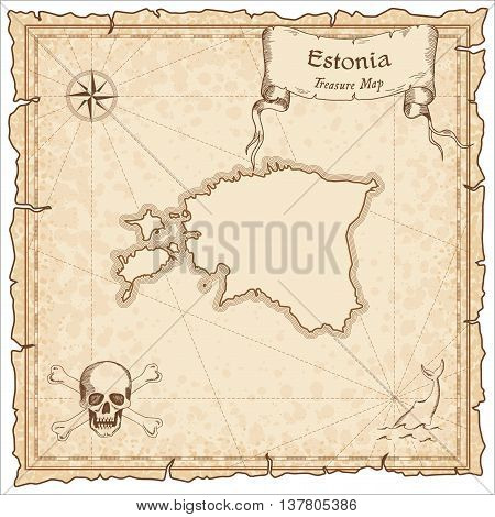 Estonia Old Pirate Map. Sepia Engraved Template Of Treasure Map. Stylized Pirate Map On Vintage Pape