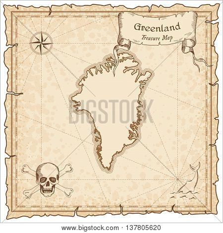 Greenland Old Pirate Map. Sepia Engraved Template Of Treasure Map. Stylized Pirate Map On Vintage Pa