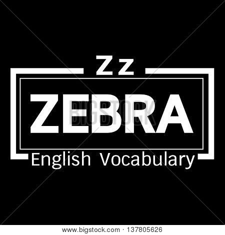 an images of ZEBRA english word vocabulary illustration design