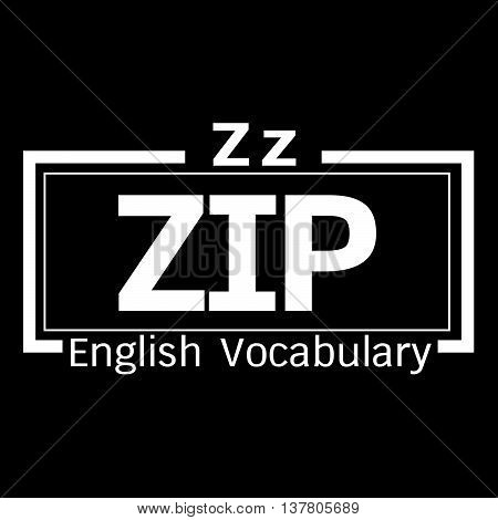 an images of ZIP english word vocabulary illustration design