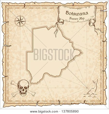 Botswana Old Pirate Map. Sepia Engraved Template Of Treasure Map. Stylized Pirate Map On Vintage Pap