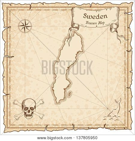 Sweden Old Pirate Map. Sepia Engraved Template Of Treasure Map. Stylized Pirate Map On Vintage Paper