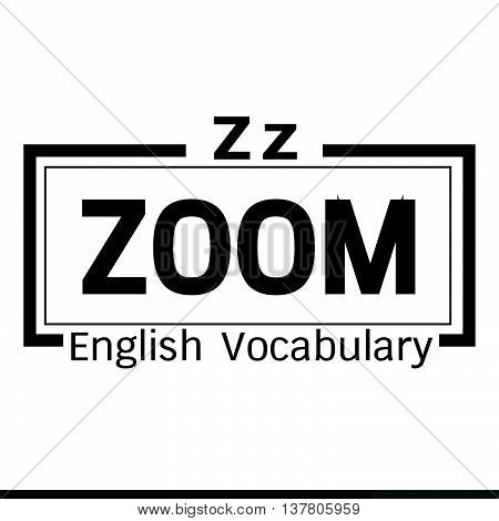 an images of ZOOM english word vocabulary illustration design