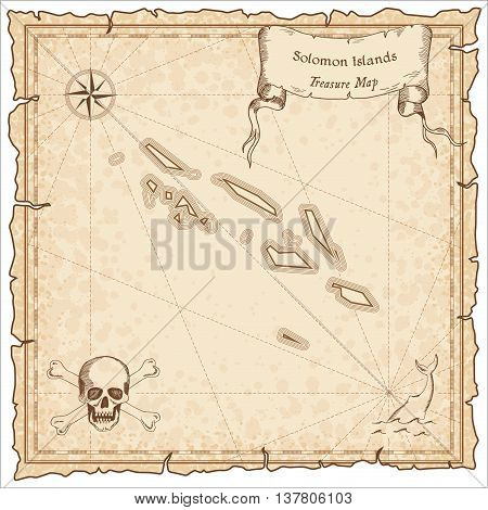 Solomon Islands Old Pirate Map. Sepia Engraved Template Of Treasure Map. Stylized Pirate Map On Vint
