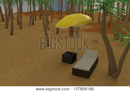 3D rendering of low poly sunbed and yellow umbrella on a beach