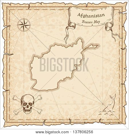 Afghanistan Old Pirate Map. Sepia Engraved Template Of Treasure Map. Stylized Pirate Map On Vintage