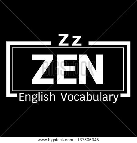 an images of ZEN english word vocabulary illustration design