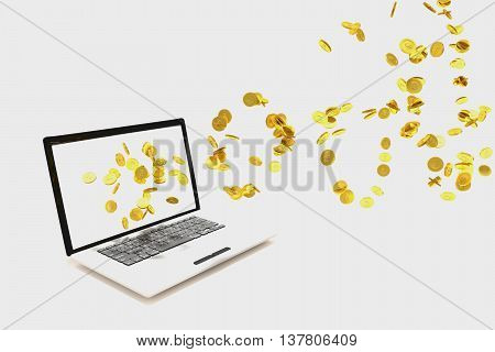 3D rendering of golden coins fly from labtop on white background
