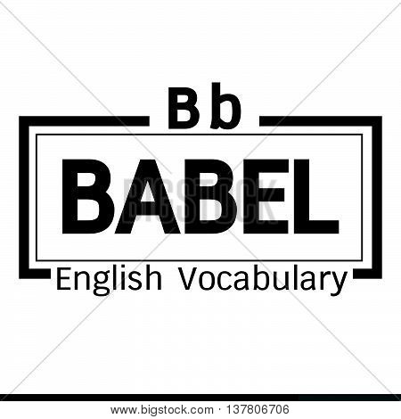 an images of BABEL english word vocabulary illustration design