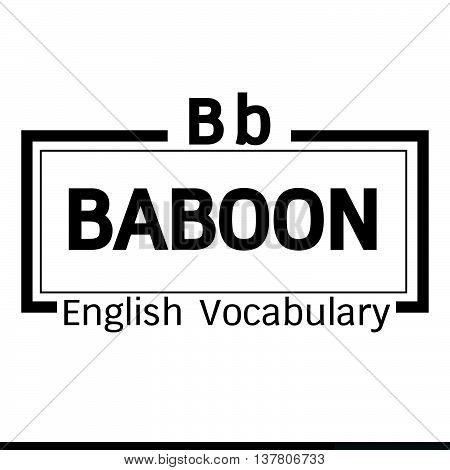 an images of BABOON english word vocabulary illustration design