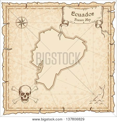 Ecuador Old Pirate Map. Sepia Engraved Template Of Treasure Map. Stylized Pirate Map On Vintage Pape