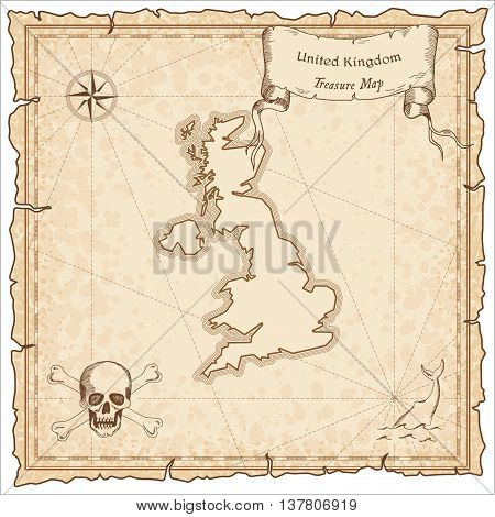 United Kingdom Old Pirate Map. Sepia Engraved Template Of Treasure Map. Stylized Pirate Map On Vinta