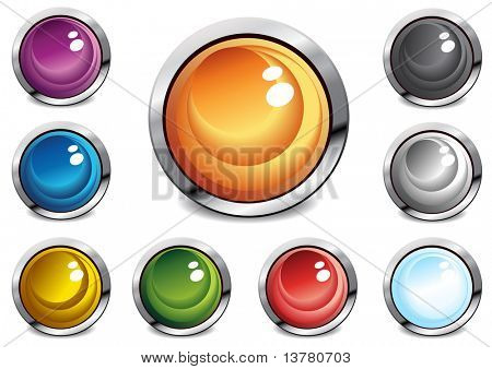 Collection of glossy color buttons, vector illustration