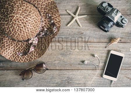 Woman's casual outfits Outfit of female traveler and copy space Top view