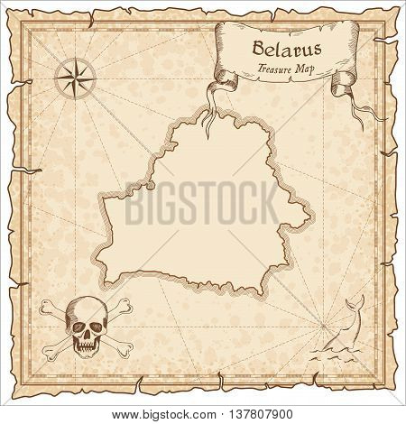 Belarus Old Pirate Map. Sepia Engraved Template Of Treasure Map. Stylized Pirate Map On Vintage Pape