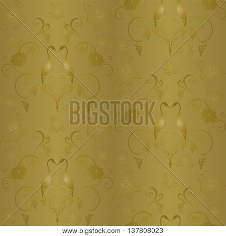 Seamless vector background with Golden pattern of grapes and twisted vines, flowers and two storks