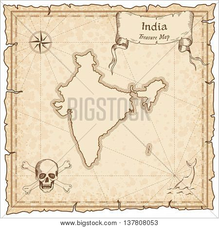 India Old Pirate Map. Sepia Engraved Template Of Treasure Map. Stylized Pirate Map On Vintage Paper.