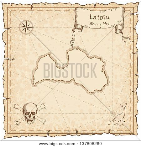 Latvia Old Pirate Map. Sepia Engraved Template Of Treasure Map. Stylized Pirate Map On Vintage Paper