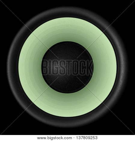 Green Audio Speaker Isolated On Black Background