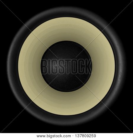 Brown Audio Speaker Isolated On Black Background