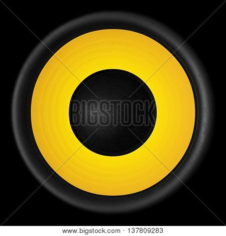 Yellow Audio Speaker Isolated On Black Background