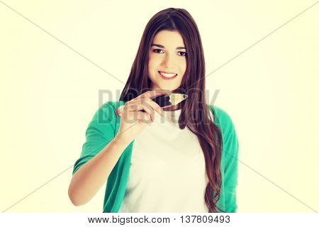 Student woman with pencil