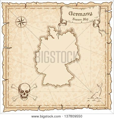 Germany Old Pirate Map. Sepia Engraved Template Of Treasure Map. Stylized Pirate Map On Vintage Pape
