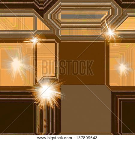 Abstract futuristic background with geometric shapes and light flashes. Brown, orange and gray technology background with flashing lights