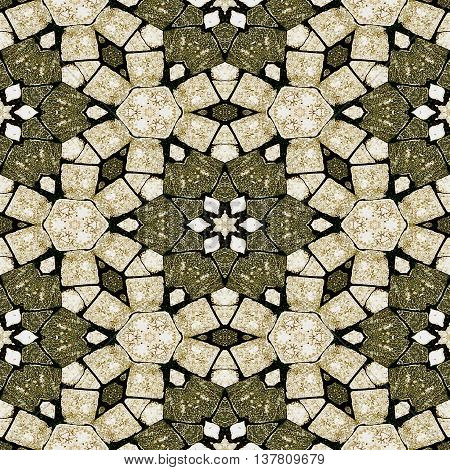 Abstract seamles kaleidoscopic mosaic pattern resembling old stone floor. Brown, white and beige grunge stone mosaic with stars