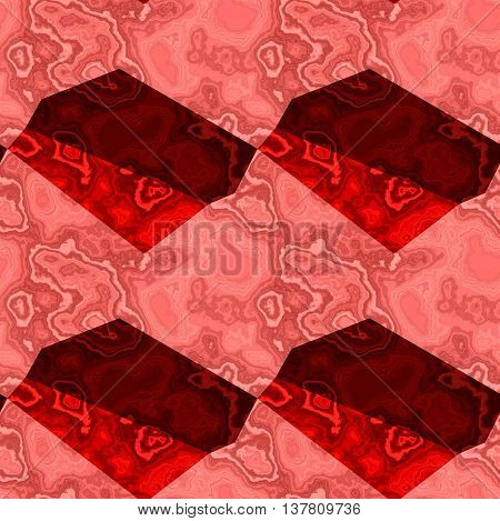 Abstract seamless red, pink and dark red marble background of polygonal mottled pattern. Layered veined marbled texture with red and pink pattern