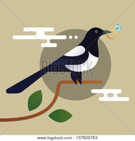 Vector illustration of magpie holding the diamond.