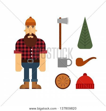 Vector Lumberjack cartoon character with lumberjack icons. Lumberjack isolated on white background. Lumber axe wood pipe and beanie.
