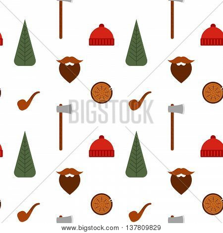 Vector seamless pattern with lumberjack icons: mustache tree axe beanie pipe.
