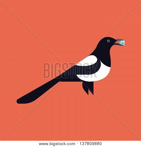 Vector illustration of magpie holding a gemstone in her beak
