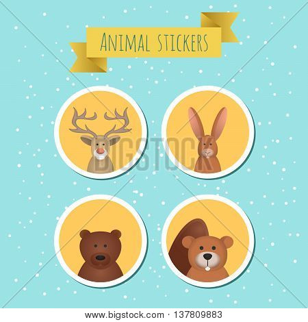 Vector illustration of four cute forest animals