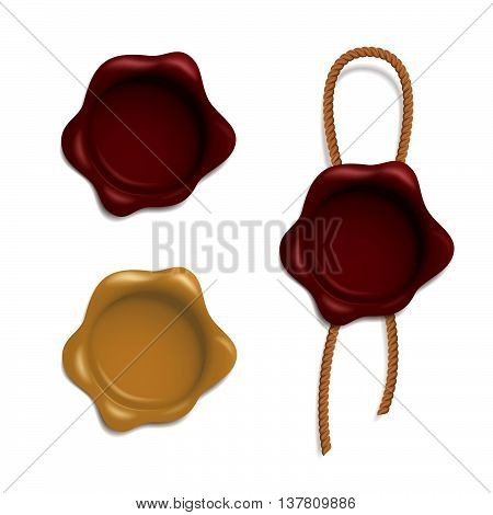 Vector set of red and yellow wax seals