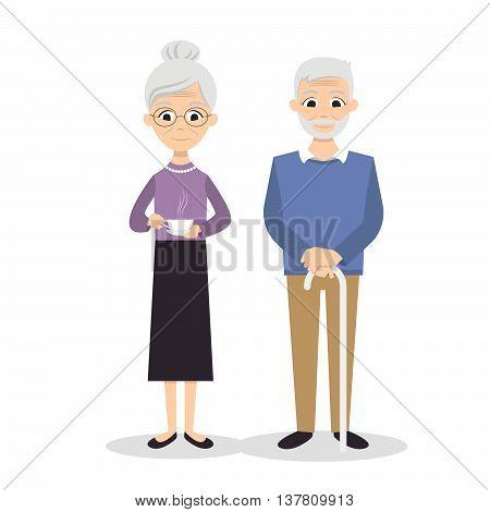 Vector illustration of happy smiling senior couple.