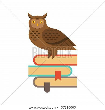 Vector illustration of wise owl sitting on the stack of book. Education and knowledge concept.