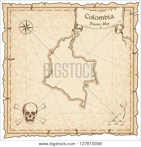 Colombia Old Pirate Map. Sepia Engraved Template Of Treasure Map. Stylized Pirate Map On Vintage Pap