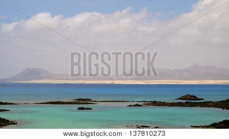 View on the lagoon from the island Lobos, Spain.
