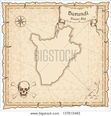 Burundi Old Pirate Map. Sepia Engraved Template Of Treasure Map. Stylized Pirate Map On Vintage Pape