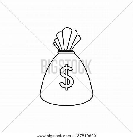Money bag icon in outline style isolated vector illustration
