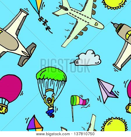 Aviation colorful seamless pattern. Vector illustration, EPS 10