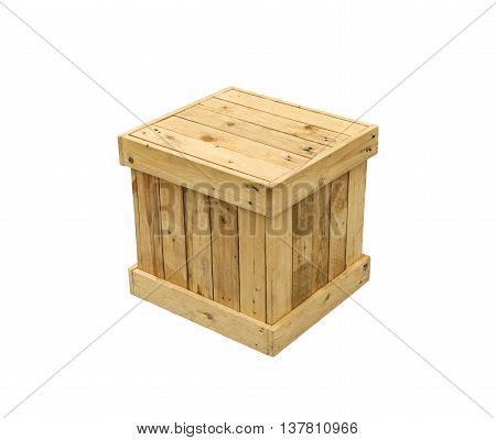 Wooden box export pallet shipping cube isolated on white