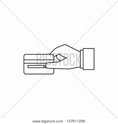 Hand holding a credit card icon in outline style isolated vector illustration