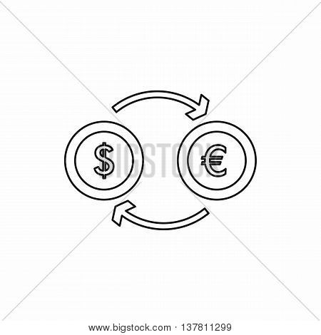 Euro dollar euro exchange icon in outline style isolated vector illustration